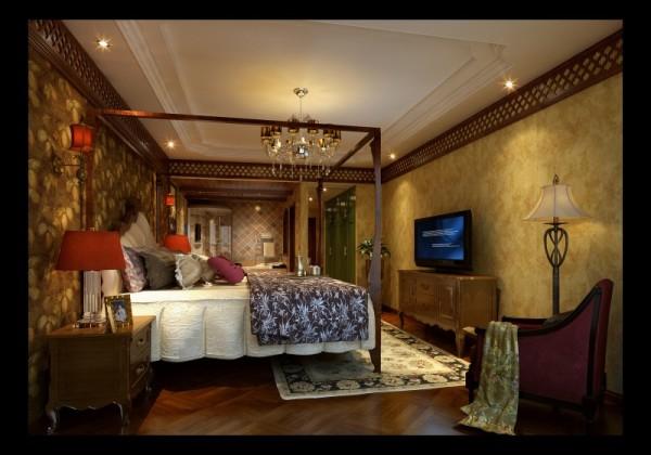 香榭丽都混搭风格卧室设计案例效果图,成都装修设计找龙发装饰