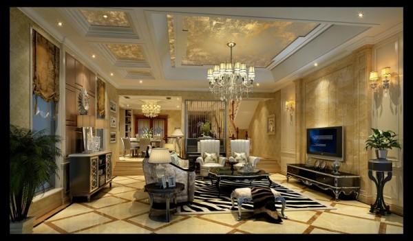 水韵尚城欧式风格客厅设计案例效果图