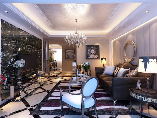 客厅沙发背景墙简约不简单的搭配挂画更体现出整体的装饰效果,更是加剧了后现代主义的前卫流行元素,以时尚为主题而进行的设计。