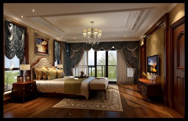 水韵尚城欧式风格卧室设计案例效果图