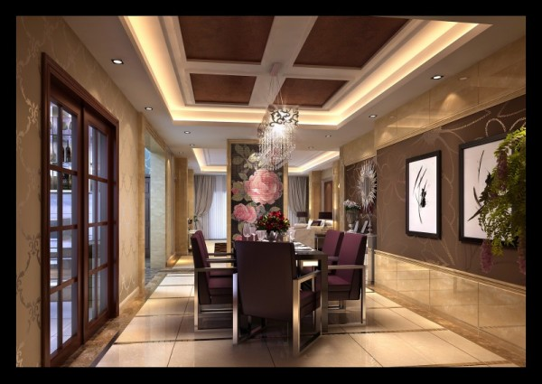 泊景湾欧式新古典风格餐厅设计案例效果图,成都装修设计找龙发装饰