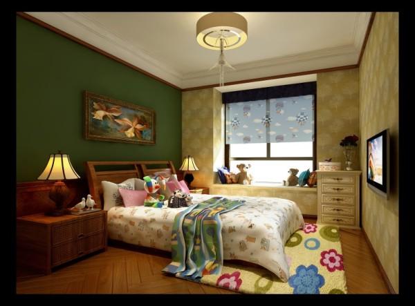 香榭丽都混搭风格儿童房设计案例效果图,成都装修设计找龙发装饰