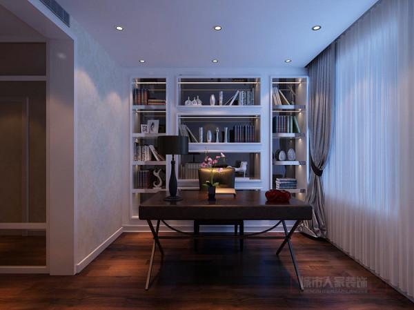 书房以后现代简洁的家具相饰,空间简洁大方,给男主人营造一个静怡的工作环境。