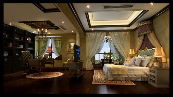 香榭丽都混搭风格主卧室设计案例效果图,成都装修设计找龙发装饰