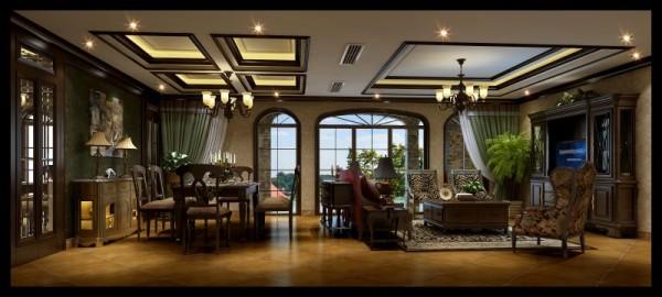 香榭丽都混搭风格客厅设计案例效果图,成都装修设计找龙发装饰