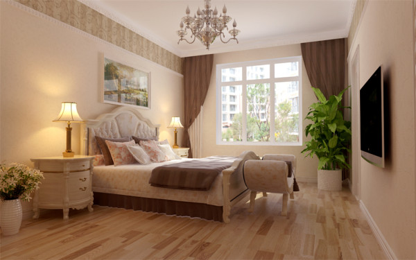 加上造型简洁大方的沙发构成了一个典型的欧洲世界,送给心灵一次欧洲的游历素色的墙纸、明亮的天花在深色地板的映衬下营造的是痛快、利落、干净的氛围。吊灯,壁灯,和吊顶带来的光源效果让就餐的气氛温馨了许多。
