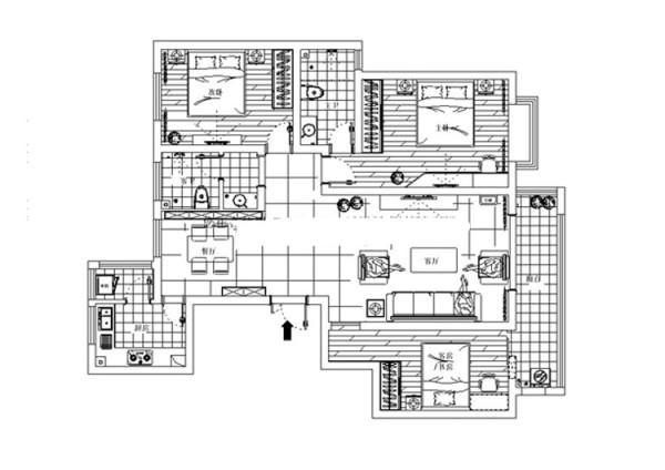 轻工业家属院三室两厅130平方户型图,户型设计图