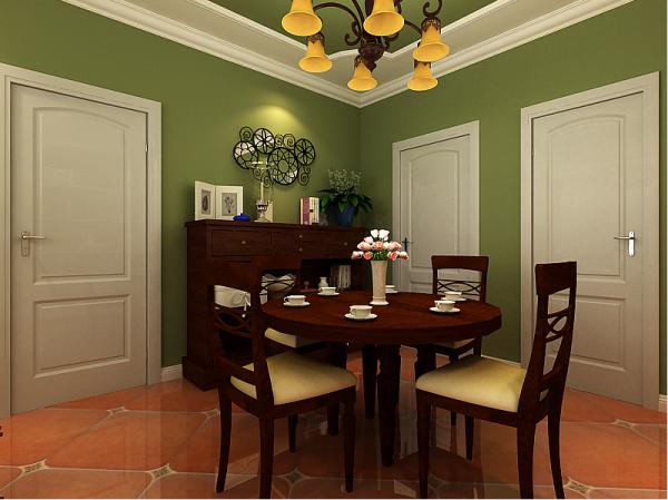 在顶面以石膏线造型为空间划分线,古朴的实木家具,绚丽的花朵,绿色的图片