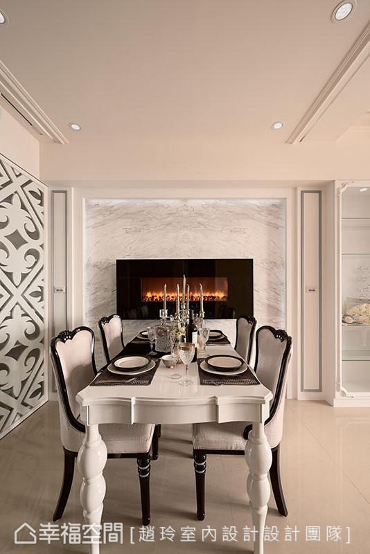 内嵌于墙面上的电子壁炉,时尚利落中感知被温暖包围。