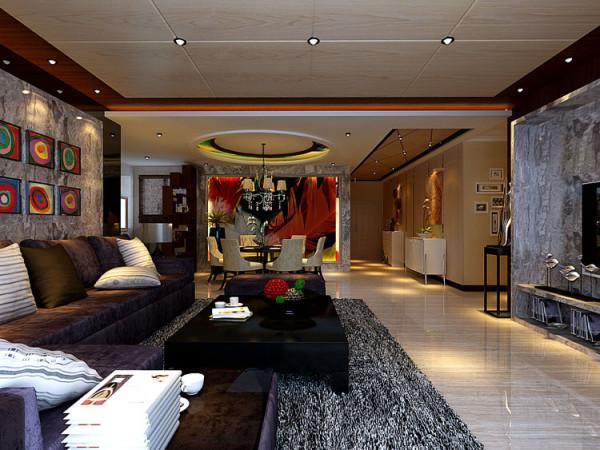 郑州中豪汇景湾四室两厅180平方装修样板间-客厅全景装修效果图