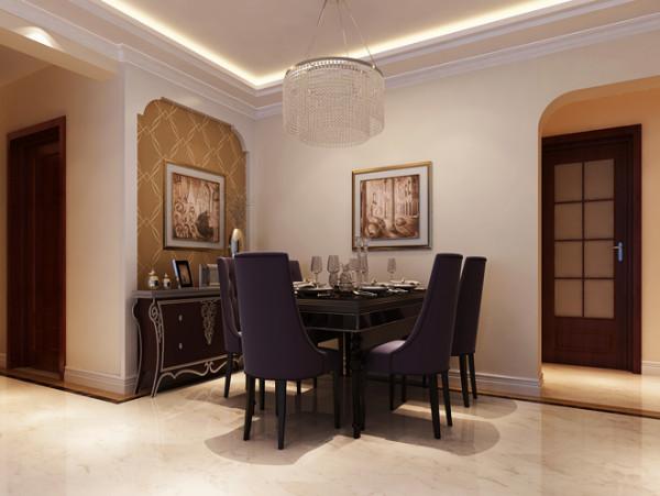 餐厅实景图  设计说明:用弧度构成餐厅的背景,菱形的壁纸图案,无不把简欧表现的淋淋尽致