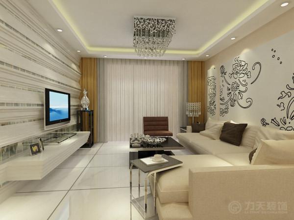 客厅与餐厅是整个在一个空间的格局。通过沙发背景墙等装饰,使整个家庭色调精彩。沙发墙运用石膏板装饰和各种乳胶漆的表现形式,更加彰显业主的品味与内涵。