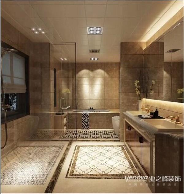 卫生间整体很大气,风格方面有融合欧式的元素。