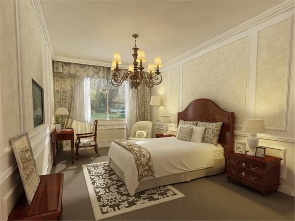 卧室墙上是通贴壁纸,加上石膏做出的造型。地面铺有地毯,可以让主人自由自在随意的在卧室。