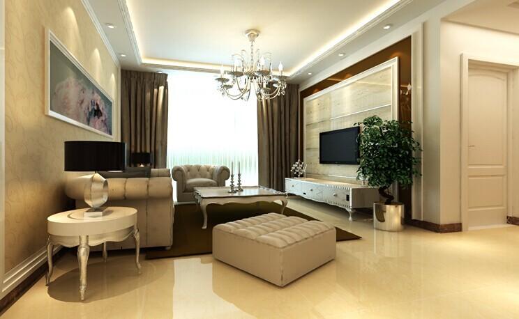 客厅整体以淡黄色花纹壁纸与边吊石膏线条相搭配,突出实用的同时给人典雅大方的感觉。让人进门之后忘记一天的烦躁,开启家居舒适生活。