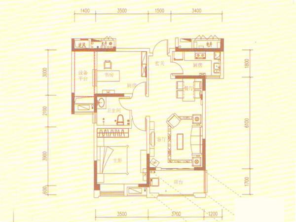 华润橡树湾-85平米-简约风格装修-户型图