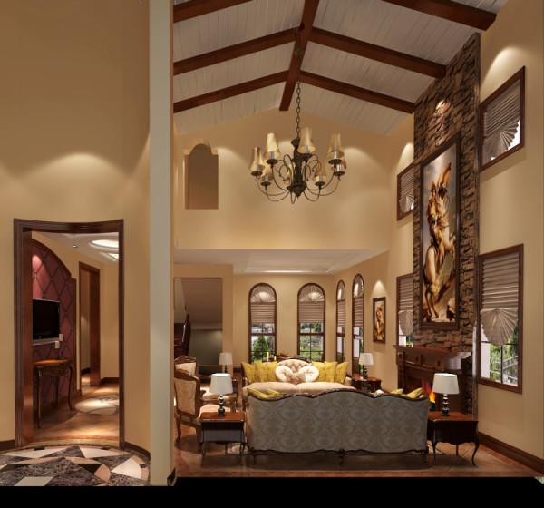 从整体地面亚光地砖和驼色墙漆的使用,以及色彩搭配的和谐方面,都可谓独到。木梁吊顶的运用,在划分区域的基础作用下,更增添了居室的情趣格调,使公共区域更有区域感。