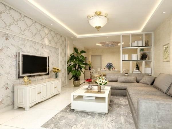 沙发选用了浅咖色的布纹,提升空间温馨色彩,客厅电视背景墙采用AB板模式,中间运用混油圈线做的造型,美观大方。