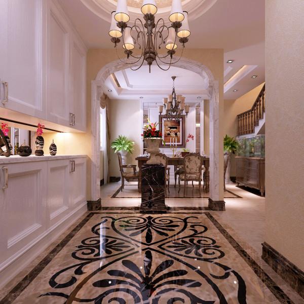 玄关:使用拼花的大理石地砖在玄关地面做出造型可以给简欧风格的屋子增色不少。
