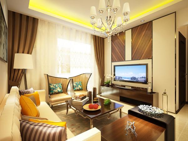 电视的背景墙的设计简洁大方,给人以舒适之感。