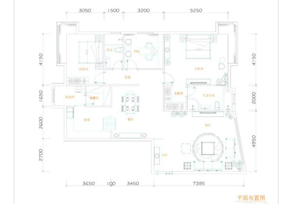 棕榈泉三居室(176平米)户型平面布置图展示