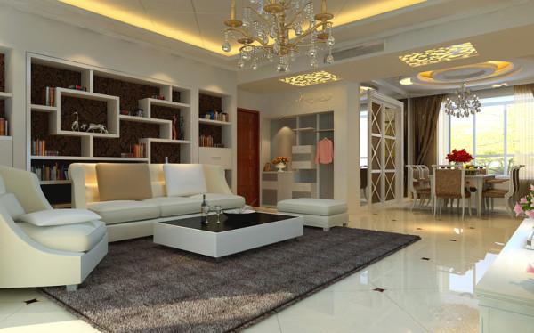 本案为海河大观4室2厅2卫1厨户型。这次的设计风格定义为简欧风格。