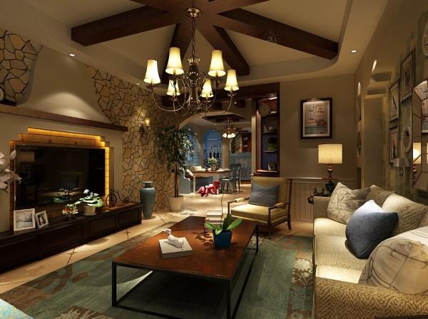 客厅的电视背景墙整面墙贴的是彩色石块拼接的壁纸,电视背后设计的是美式的壁炉,再加上独特设计的实木吊顶,给人一种质朴,散发着乡村气息的舒适感觉。