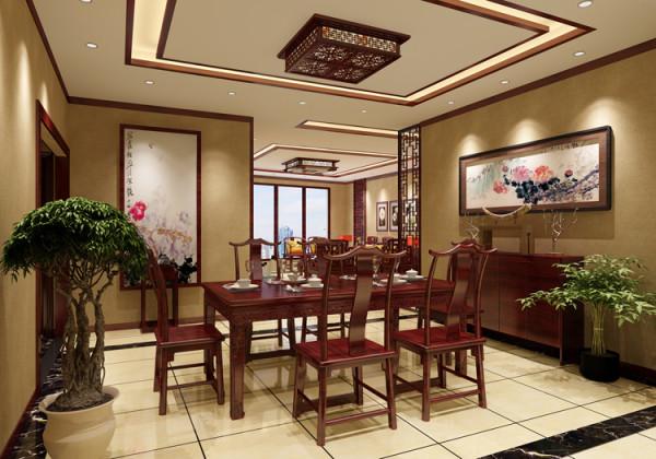 棕榈泉三居室(176平米)户型餐厅效果图展示