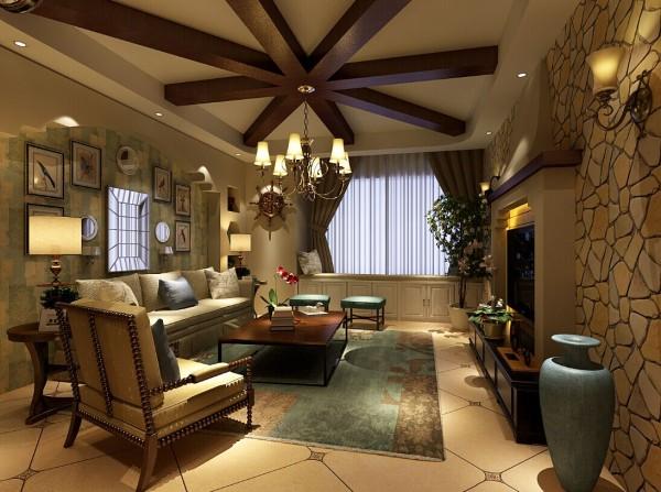 客厅的沙发背景墙用石膏板做的浅蓝色造型,中间用自然的小动物装饰画点缀,搭配室内的绿植,清新自然。