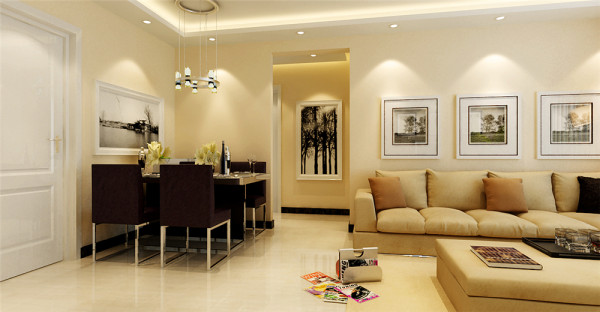 使客厅与餐厅形成一个开阔的视觉空间。通过色彩及饰物的搭配,给空间爱你融入时尚感,制造一种浪漫而细致的格调。