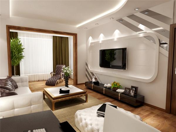 给人眼前一亮的感觉。电视背景墙采用石膏 板圆矩形造型,既典雅又经济。