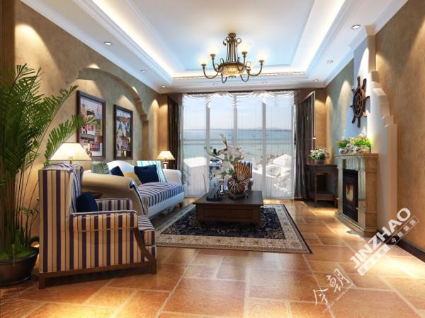 接待区主色调为暗黄色配以蓝色布艺沙发,整体沉稳而不失清新感觉,电视背景造型使空间更有立体感。
