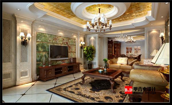 古典欧式风格设计,中庭的圆形处理,聚财聚气。。。