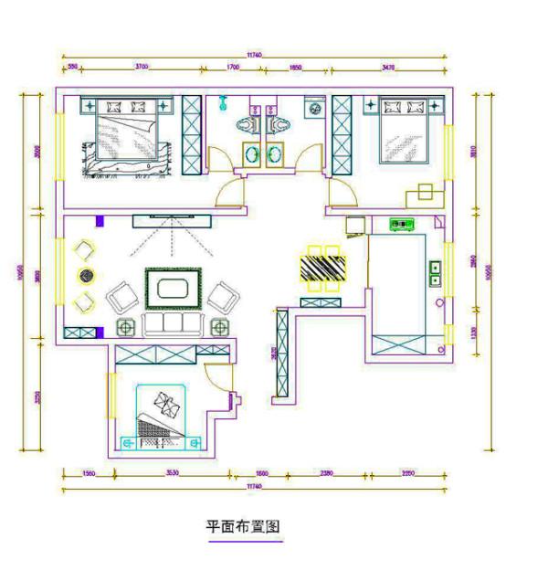 本案例是中海凯旋门御园120㎡简中式风格设计案例,三室两厅一厨一卫。