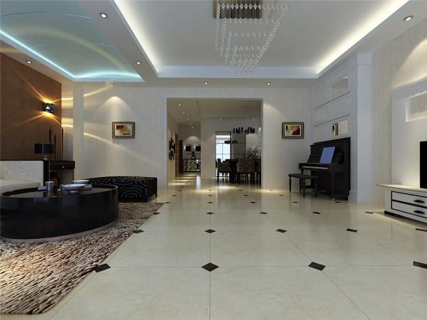 在功能方面,客厅是主任品味的象征,体现了主人品格,地位,也是交友娱乐的场合,电视背景墙采用石膏板做的造型。