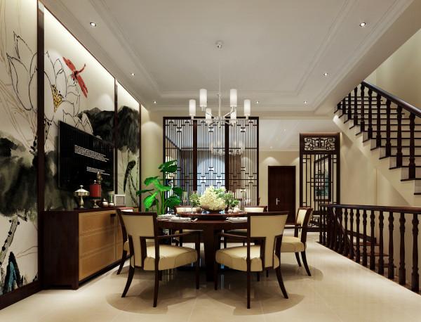 屏风式镂空设计增加餐厅的通透度和舒适感。水墨的背景墙与家具装饰浑然天成,增加中式风格的特性,温暖而舒适的感觉,展露的淋漓尽致