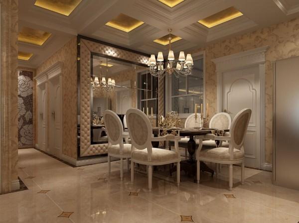 餐厅以烤漆玻璃做为背景,四周用的是软包,给人温馨舒适的就餐环境。