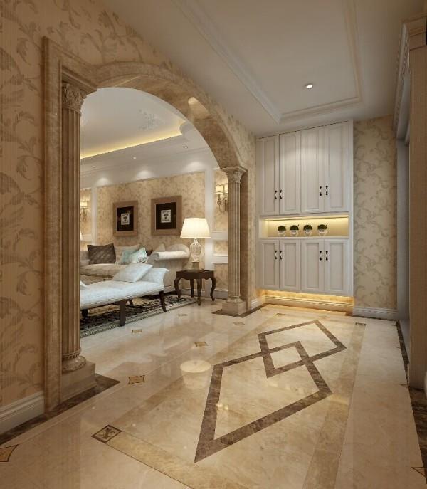 入户的门厅地砖拼接的几何图案,通顶的鞋柜,大气的欧式罗马柱,展现了图片