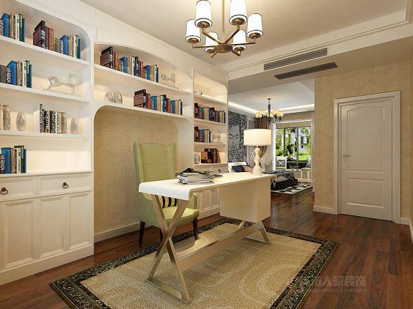 由于书房的面积过大,所有在设计上采用了沿墙以整租大型的书柜为背景,地中海造型的背景墙,展示工艺品和书籍,增加书房的韵味。在色调上整个空间以深色为主,体现浓厚的文化底蕴和内涵。