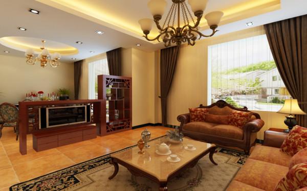 客厅和餐厅是相通的,所以没有电视墙,为了整个屋子的采光和通透性,地面用了仿古砖斜铺,让整个空间显得高端大气。