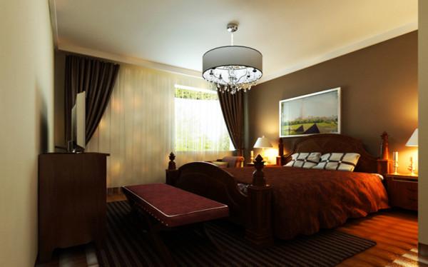 主卧室没有做什么造型,就是把床头背景刷了一个深颜色的漆,来烘托一下主次关系,因为整体设计是根据客户要求来的。