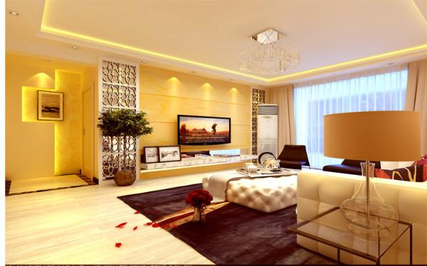 温馨而舒适的灯光,简洁时尚的烤漆玻璃配以大气的石材做背景,整个电视背景墙给人以温馨、舒适同时又夹杂这高端大气的感觉。