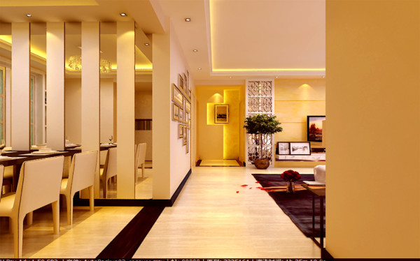 端景墙的设计往往是很多人比较注重的地方,该案端景墙从艺术的角度出发,配以和谐的灯光,为室内增添了不少色彩。