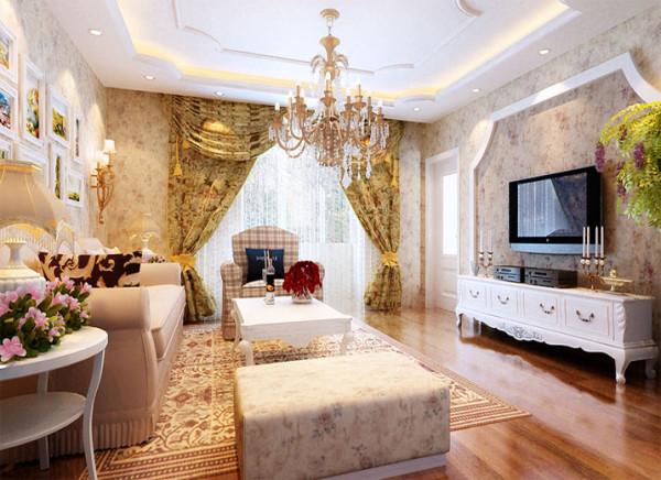 作为待客区域,要求简洁明快,同时要求空间更加明快光鲜,在小碎花的墙纸,水晶吊灯的装饰下,顶面的一级吊顶,绿植的搭配,让空间不再简易。