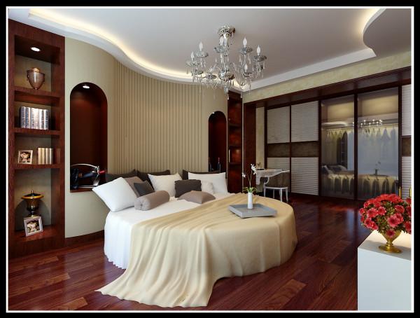 设计理念:主人喜欢好暗与金 两者相交为业主的心里空间添彩 亮点:超大的床 茶水柜的配置方便人的生活