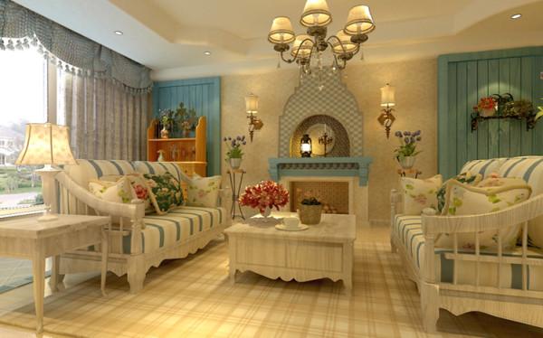 设计理念:客厅电视背景墙运用了地中海的元素在里头,用木头做旧的感觉衬托出田园与自然的亲切感。