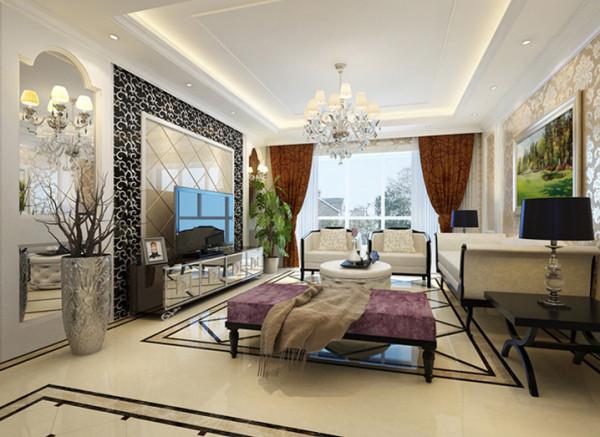 设计理念:卧室的欧式壁纸完全充斥着整个空间,床头背景墙的软包装饰不只是豪华大气,更多的是惬意和浪漫。