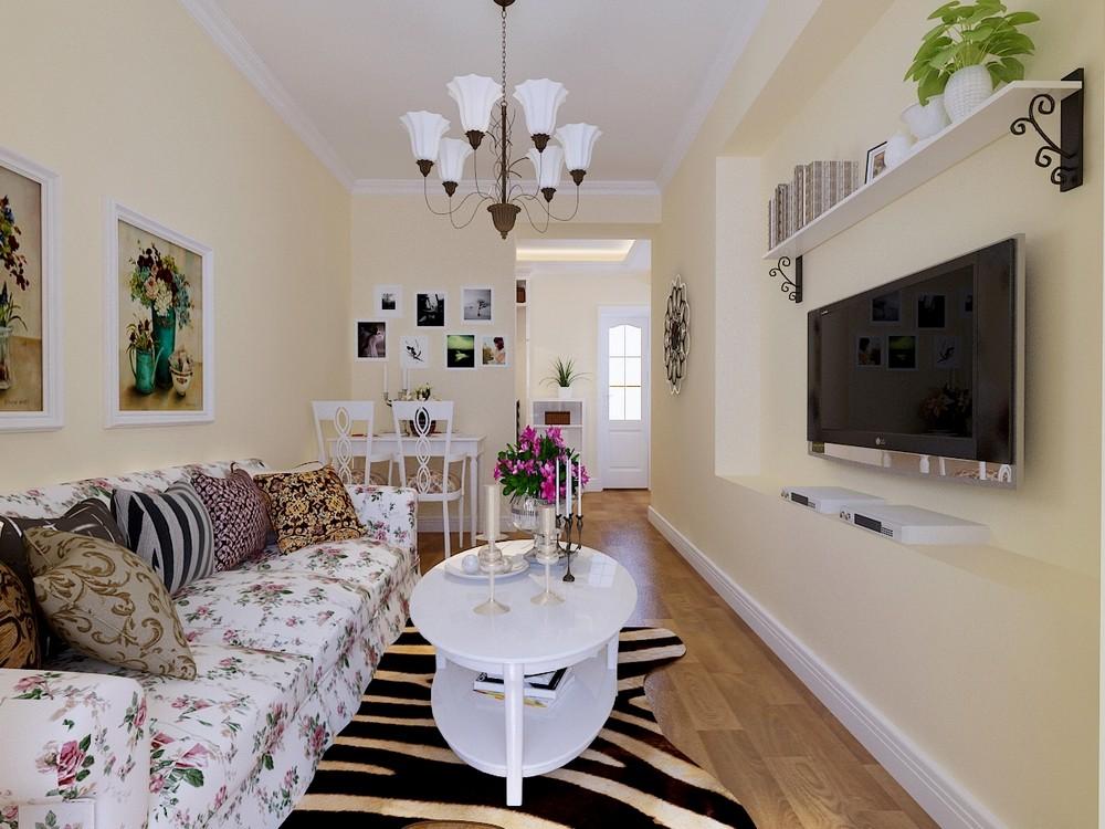 整个墙面刷淡黄色乳胶漆,地面铺栗色的木地板,客厅吊顶则以简单的石膏