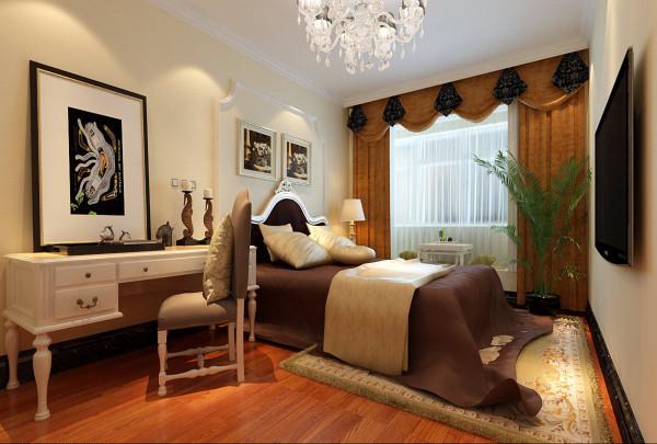 卧室墙头背景选用床头平角石膏线做造型,古典中透漏着新意。在窗帘的选择上,选用金色暗花窗帘,温馨舒适,质感十足。卧室悬挂的油画更突出了整个空间新古典的感觉,顶面放置的悬挂式吊灯,更显典雅高贵。