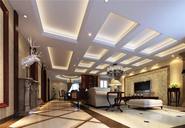 本案设计为简欧风格,宽敞舒适的客厅配合蒙娜丽莎大地砖凸显高贵,电视背景墙的地砖上墙恰到好处即装饰了墙面,同时顶面的方形吊顶与欧式吊灯更增添了简欧的大气。